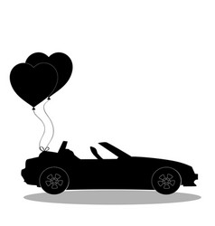 Black silhouette of opened car with pair of heart vector