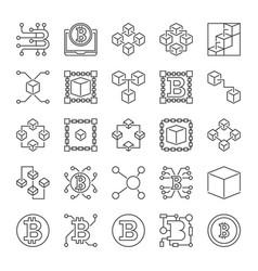 blockchain line icons set - block-chain vector image
