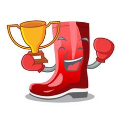 Boxing winner muddy farmer boots shape the cartoon vector