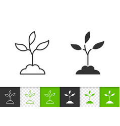 branch leaves simple black line icon vector image