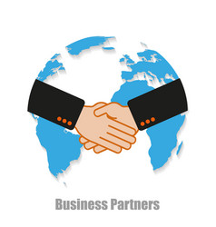 business partners world with shadow on a white vector image