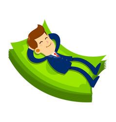 businessman sleeping on pile money vector image