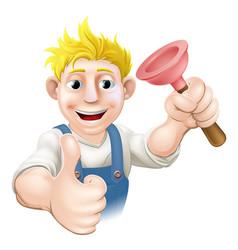 Cartoon plunger plumber vector