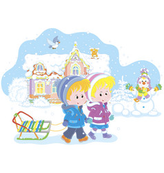 Children with a sled on a snowy winter day vector