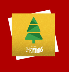 christmas card with tree and yellow pattern vector image