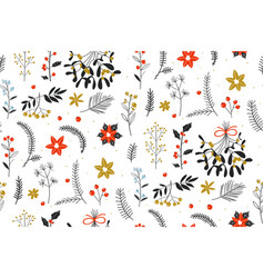christmas texture with flowers and plants cute vector image