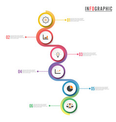 circle infographic template six option process or vector image