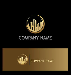 Cityscape building gold business logo vector