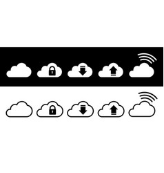 cloud icon set in white and black in flat style vector image