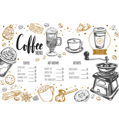 coffee and bakery restaurant menu 3 vector image