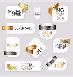 collection golden premium promo sealsstickers vector image