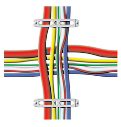 Color cables with brackets vector