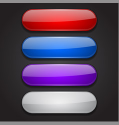 colored oval buttons 3d glass menu icons on black vector image