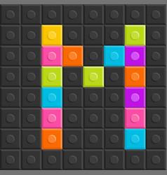 colorful brick block letter m flat design vector image