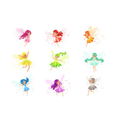 Colorful rainbow set of cute girly fairies with vector