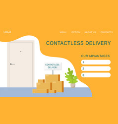 contactless delivery parcels and goods from the vector image