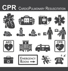 Cpr cardiopulmonary resuscitation icon vector