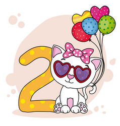 Cute cat with the number two vector