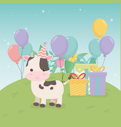Cute cow in birthday party scene vector