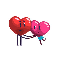 cute red and pink hearts characters embracing vector image