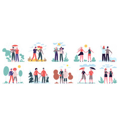 different seasons couples walk at various weather vector image