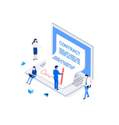 digital signature and e-business isometric concept vector image