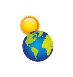 earth planet with sun icon vector image