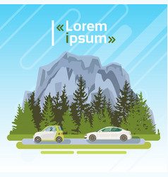 Electrical cars on road over mountains summer vector
