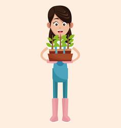 farmer pot plant work vector image