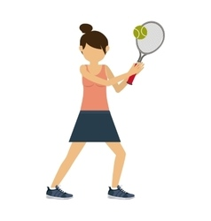 female athlete practicing tennis isolated icon vector image