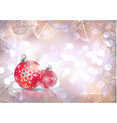 Festive winter background with red holiday balls vector