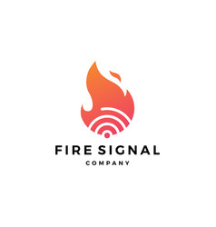 Fire flame signal logo icon vector