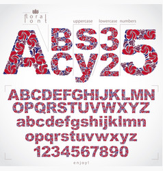 Floral alphabet sans serif letters and numbers vector