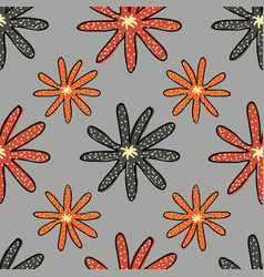 floral colorful flowers on a gray background vector image