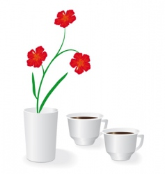 flowers and two cups of coffee vector image