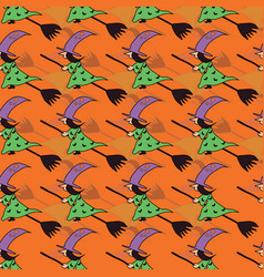 fun hand drawn halloween witch seamless pattern vector image