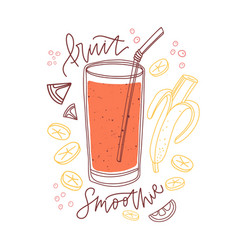 Glass mixed fruit smoothie with banana vector