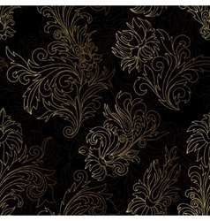 Gold damask ornaments seamless vector image