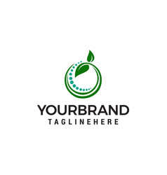 Green leaf circle logo design concept template vector