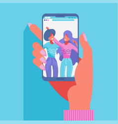 group two female friends taking a photo vector image