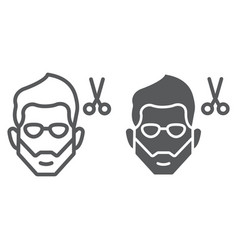 Haircut line and glyph icon barber and hairstyle vector
