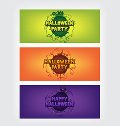 Happy halloween party text with circle gradient ba vector