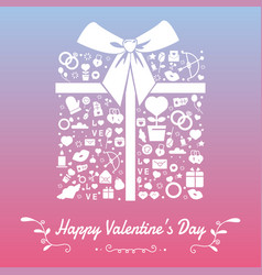 happy valentines day with symbols template vector image