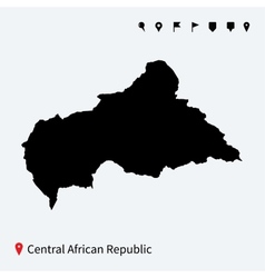 High detailed map central african republic vector