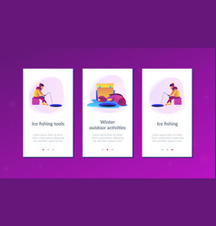Ice fishing app interface template vector
