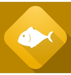icon of Fish with a long shadow vector image