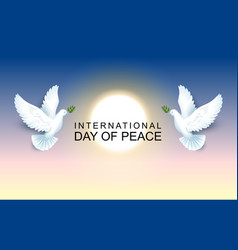 international day of peace pair of pigeons hold an vector image