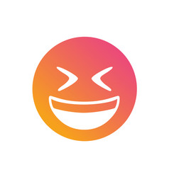 isolated gradient laughing out loud face flat icon vector image