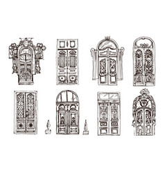 isolated old doors sketch set vector image