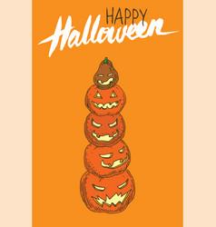 Jack-o-lantern pumpkins halloween greeting card vector